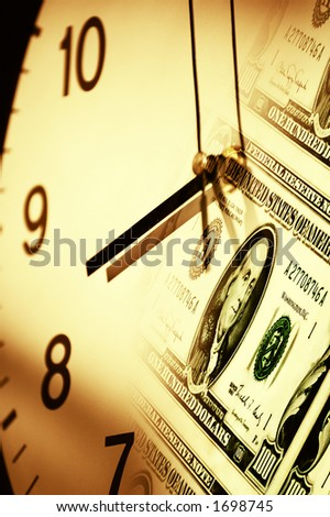 dollar banknotes and clock as concept for the business saying time is money