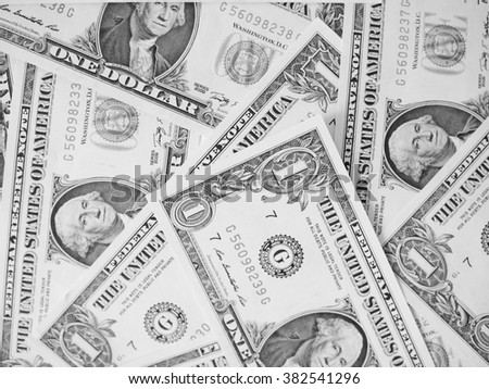 Dollar banknotes 1 Dollar currency of the United States useful as a background in black and white