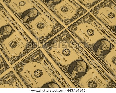 Dollar banknotes 1 Dollar currency of the United States useful as a background - vintage sepia look - stock photo