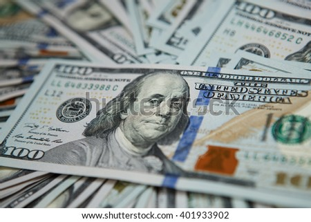 Dollar banknotes 100 Dollars currency of the United States useful as a background. concept close-up money dollars background - stock photo