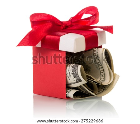 Dollar banknotes in gift box isolated on white background - stock photo