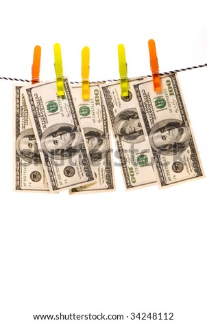 Dollar banknotes on a rope studio isolated