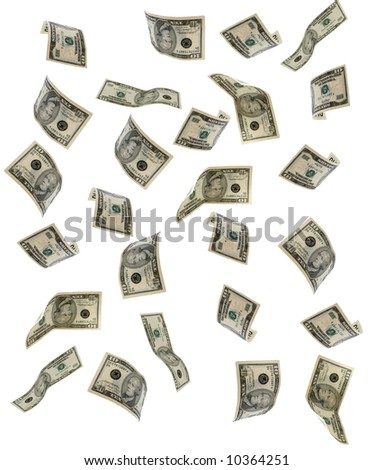 Dollar banknotes on a white background