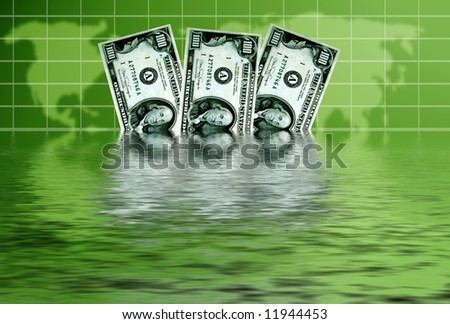 dollar banknotes sinking in water as concept for american economy in difficult - stock photo