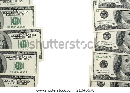 Dollar banknotes with empty isolated space.
