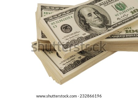 dollar banks note money isolated closeup on white background - stock photo