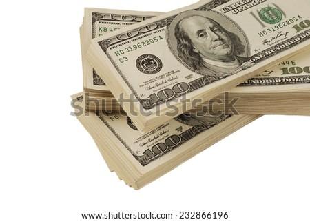 dollar banks note money isolated closeup on white background - stock photo
