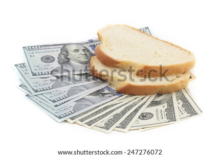 Dollar bill and two pieces of white bread isolation on white background - stock photo