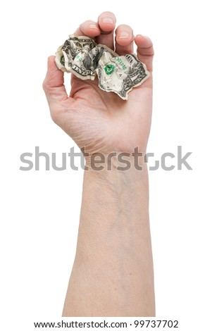 Dollar bill in his hand an old man on a white background - stock photo