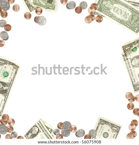Dollar bill, penny, nickel, quarter and dime currency border isolated on white - stock photo