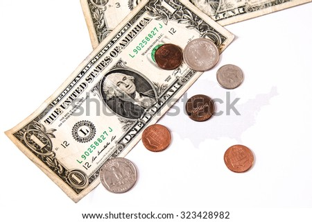 dollar bills and cents over the united states map, business symbol for wealth and gain, over white - stock photo