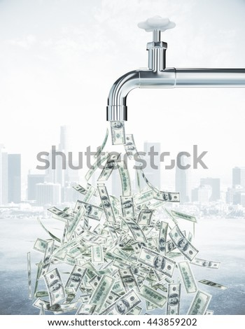 Dollar bills flowing from an open faucet on city background. Financial growth concept. 3D Rendering - stock photo