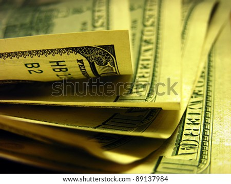 Dollar bills in dark style - stock photo
