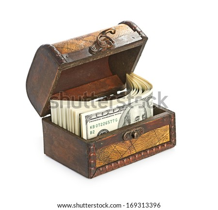 Dollar-bills in the old wooden treasure chest