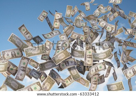 dollar bills in the sky - stock photo