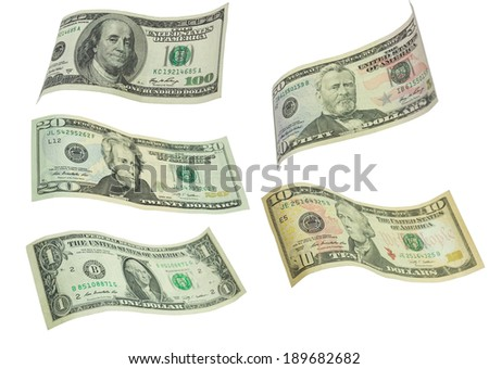 Dollar bills isolated on white - stock photo