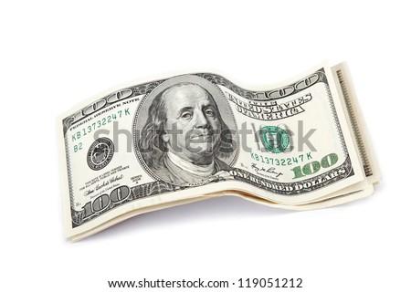 Dollar bills isolated on white background. - stock photo