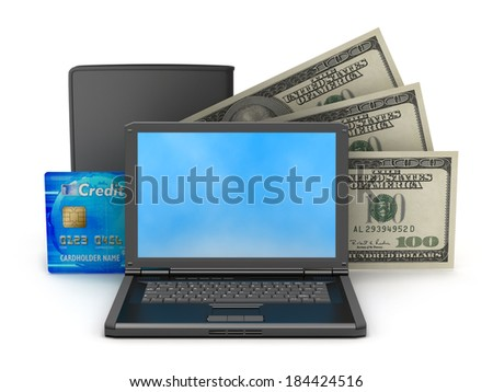 Dollar bills, laptop, leather wallet and credit card  - stock photo