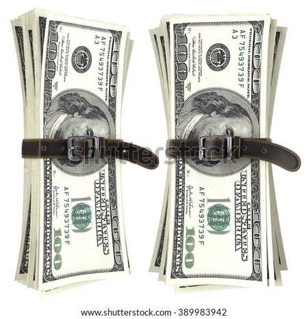 dollar bills squeezed together by leather belt. isolated on white background. - stock photo