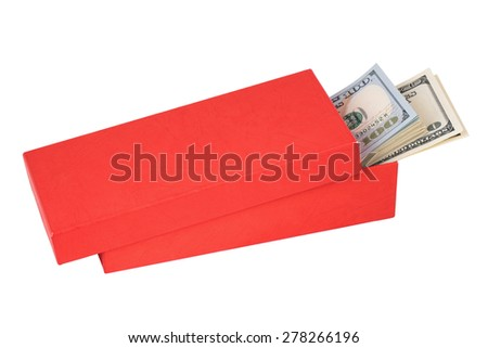 Dollar bills sticking out a half-open red box, isolated on white background - stock photo