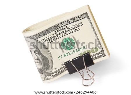 Dollar Bills With Clip Isolated On White Background - stock photo