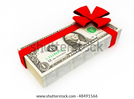 Dollar bills with Red ribbon. Perfect gift