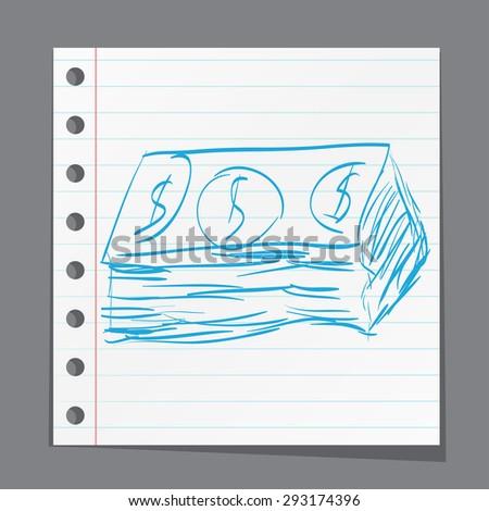 Dollar cash money icon. Hand drawing cartoon sketch - stock photo