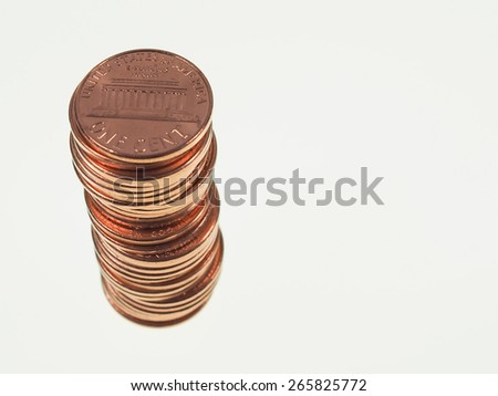 Dollar coins 1 cent wheat penny cent currency of the United States in a pile - stock photo