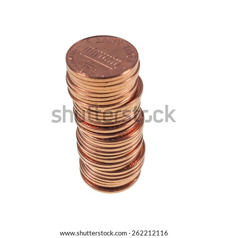 Dollar coins 1 cent wheat penny cent currency of the United States in a pile isolated over white - stock photo