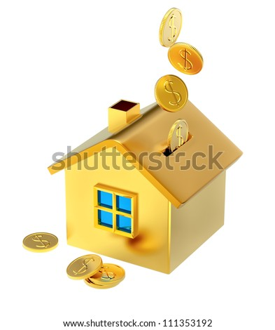dollar coins falling down into a piggy bank in the form of a gilded house as a symbol of the accumulation - stock photo
