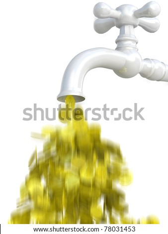 Dollar coins flows from tap - stock photo