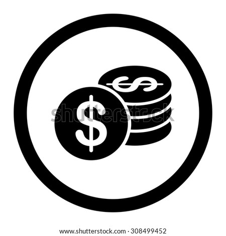 Dollar Coins glyph icon. This flat rounded symbol uses black color and isolated on a white background.