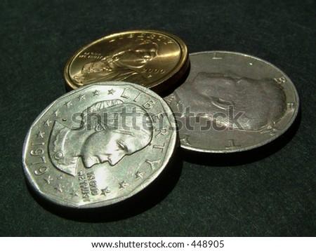 dollar coins (heads) - stock photo