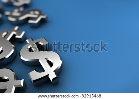 Dollar concept with silver dollar symbols over blue background - stock photo