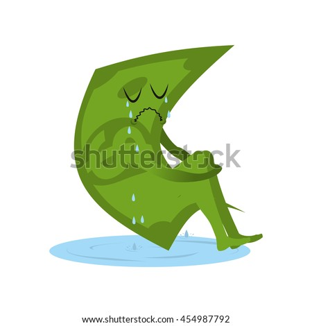 Dollar crying. Money in puddle of tears. Yearning and sob capital. Sad cash. Abandoned, useless currency. Illustration bankruptcy - stock photo