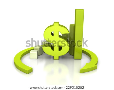 dollar currency bar graph with round arrow. 3d render illustration