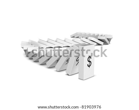 Dollar currency crash. Domino effect. Isolated on the white background - stock photo