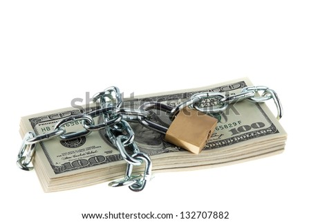 dollar currency notes with lock and chain. money stack for safety and investment. - stock photo