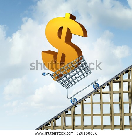 Dollar currency rise financial path concept as a three dimensional American money icon in a shopping cart going up a roller coaster as an economic symbol for a gain in Canadian and Australian money. - stock photo