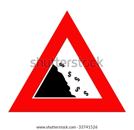 Dollar currency symbols falling off cliff in warning road sign triangle, isolated on white background. - stock photo