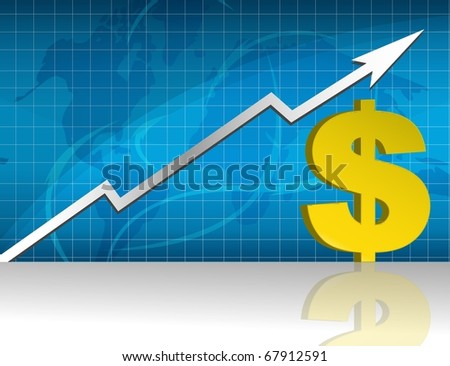 Dollar currency trading graph. - stock photo