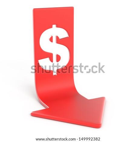 dollar down - stock photo