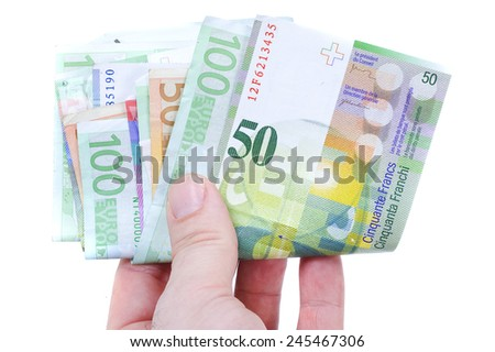 dollar, euro and swiss franc currency  - stock photo