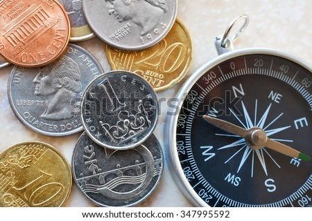 Dollar, Euro currency and Czech crown money - exchange rate - economy and finance in international business - import and export - stock photo