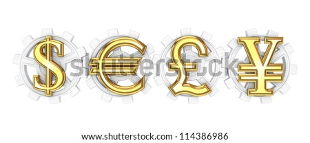 Dollar, euro, yen and pound sterling signs.Isolated on white background.3d rendered. - stock photo