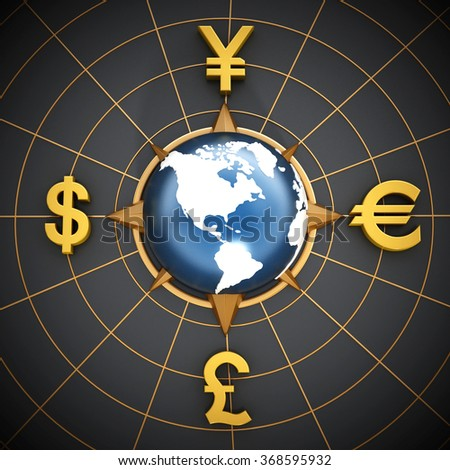 Dollar, Euro, Yen and Pound symbols around the blue globe