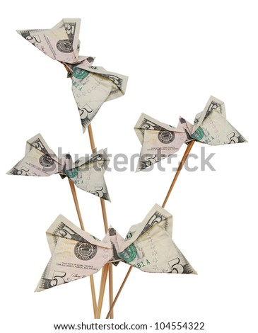 Dollar folded origami style game - stock photo