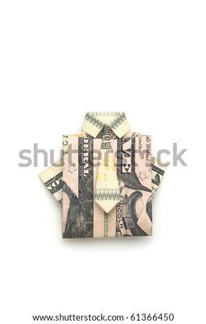 dollar folded origami style into a shirt and tie - stock photo