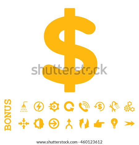 Dollar glyph icon. Image style is a flat iconic symbol, yellow color, white background. - stock photo