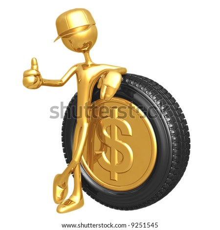 Dollar Gold Coin Hubcap - stock photo
